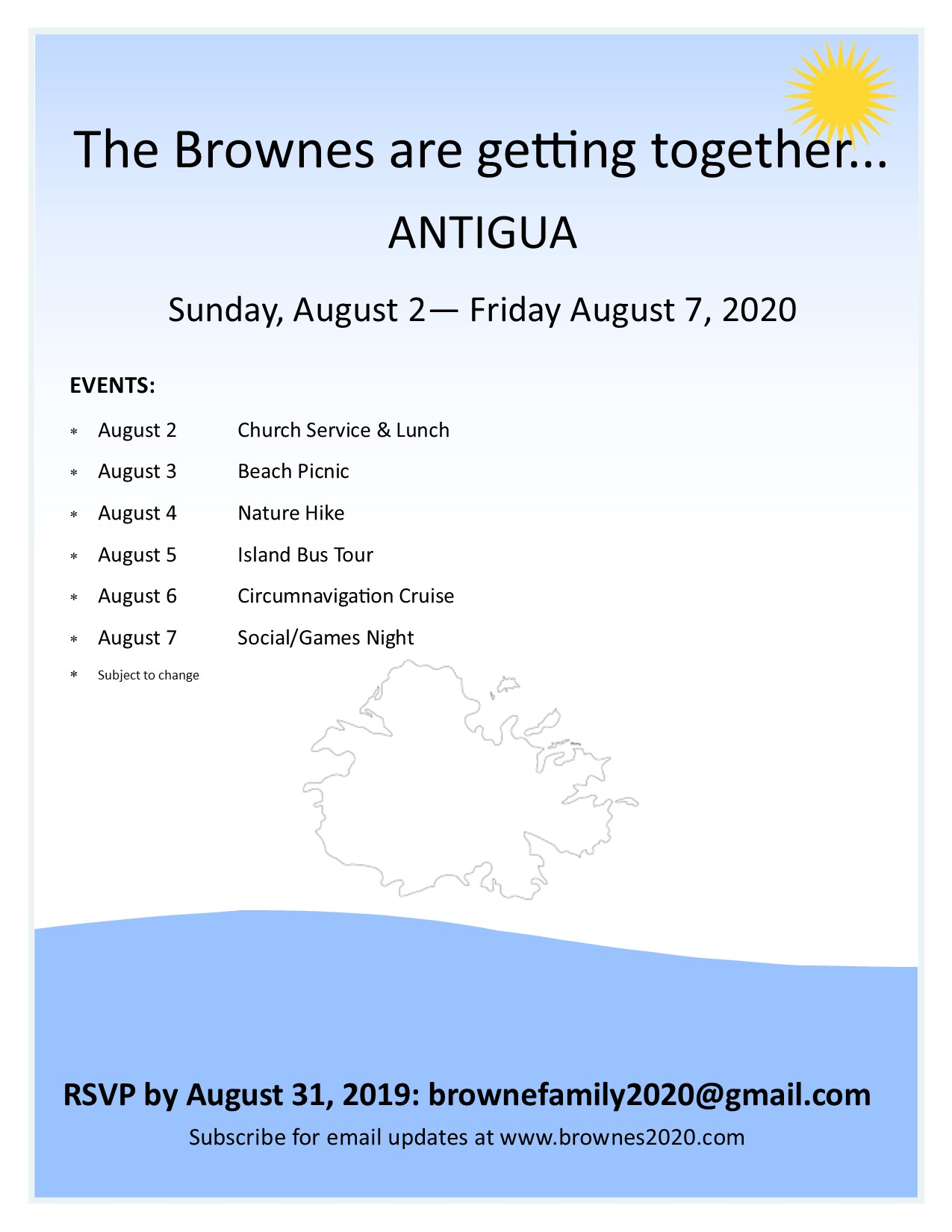 August 4 2020 Events.Event Schedule Meet The Brownes